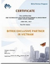 Bitrix Exclusive Partner Certificate